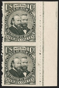 Sale Number 1212, Lot Number 419, Private Die Match Stamps: A thru GByam, Carlton & Co., 1c Black, Watermarked, Vertical Pair, Imperforate Horizontally (RO49i), Byam, Carlton & Co., 1c Black, Watermarked, Vertical Pair, Imperforate Horizontally (RO49i)
