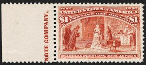 Sale Number 1212, Lot Number 42, 1893 Columbian Issue$1.00 Columbian (241), $1.00 Columbian (241)