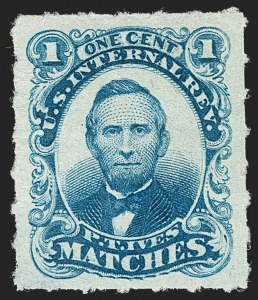 Sale Number 1212, Lot Number 436, Private Die Match Stamps: H thru ZP. T. Ives, 1c Blue, Watermarked, Rouletted (RO117d), P. T. Ives, 1c Blue, Watermarked, Rouletted (RO117d)