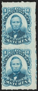Sale Number 1212, Lot Number 437, Private Die Match Stamps: H thru ZP. T. Ives, 1c Blue, Watermarked, Rouletted (RO117d), P. T. Ives, 1c Blue, Watermarked, Rouletted (RO117d)