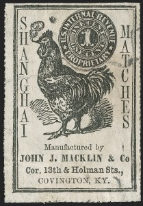 Sale Number 1212, Lot Number 438, Private Die Match Stamps: H thru ZJohn J. Macklin & Co., 1c Black, Old Paper, Rouletted (RO129a), John J. Macklin & Co., 1c Black, Old Paper, Rouletted (RO129a)