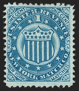 Sale Number 1212, Lot Number 441, Private Die Match Stamps: H thru ZN.Y. Match Co., 1c Blue, Old Paper (RO136a), N.Y. Match Co., 1c Blue, Old Paper (RO136a)