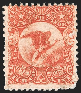 Sale Number 1212, Lot Number 442, Private Die Match Stamps: H thru ZN.Y. Match Co., 1c Vermilion, Experimental Silk Paper (RO137e), N.Y. Match Co., 1c Vermilion, Experimental Silk Paper (RO137e)