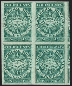 Sale Number 1212, Lot Number 443, Private Die Match Stamps: H thru ZN. & C. (Newbauer & Co.), 4c Green, Silk Paper, Imperforate (RO140bi), N. & C. (Newbauer & Co.), 4c Green, Silk Paper, Imperforate (RO140bi)