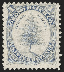 Sale Number 1212, Lot Number 444, Private Die Match Stamps: H thru ZOrono Match Co., 1c Ultramarine, Old Paper (RO141u), Orono Match Co., 1c Ultramarine, Old Paper (RO141u)