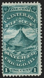 Sale Number 1212, Lot Number 445, Private Die Match Stamps: H thru ZPierce Match Co., 1c Green, Old Paper (RO145a), Pierce Match Co., 1c Green, Old Paper (RO145a)