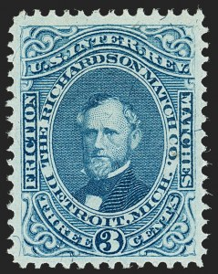 Sale Number 1212, Lot Number 446, Private Die Match Stamps: H thru ZRichardson Match Co., 3c Blue, Silk Paper (RO159b), Richardson Match Co., 3c Blue, Silk Paper (RO159b)