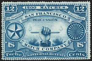 Sale Number 1212, Lot Number 448, Private Die Match Stamps: H thru ZSan Francisco Match Co., 12c Blue, Silk Paper (RO165b), San Francisco Match Co., 12c Blue, Silk Paper (RO165b)