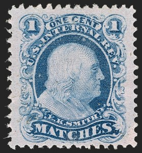 Sale Number 1212, Lot Number 449, Private Die Match Stamps: H thru ZE.K. Smith, 1c Blue, Pink Paper (RO168c), E.K. Smith, 1c Blue, Pink Paper (RO168c)