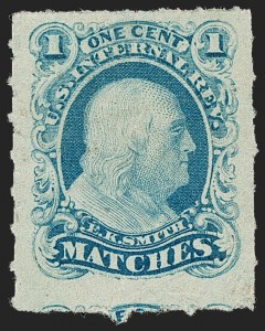 Sale Number 1212, Lot Number 450, Private Die Match Stamps: H thru ZE. K. Smith, 1c Blue, Watermarked, Rouletted (RO169d), E. K. Smith, 1c Blue, Watermarked, Rouletted (RO169d)