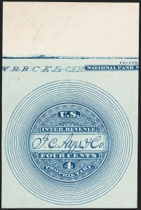 Sale Number 1212, Lot Number 460, Private Die Medicine Stamps: A thru CJ. C. Ayer & Co., 4c Blue, Watermarked, Imperforate (RS10d), J. C. Ayer & Co., 4c Blue, Watermarked, Imperforate (RS10d)