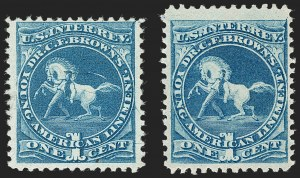 Sale Number 1212, Lot Number 464, Private Die Medicine Stamps: A thru CDr. C. F. Brown, 1c Blue, Silk and Watermarked (RS36b, RS36d), Dr. C. F. Brown, 1c Blue, Silk and Watermarked (RS36b, RS36d)
