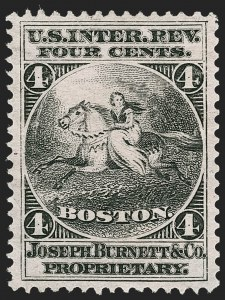 Sale Number 1212, Lot Number 468, Private Die Medicine Stamps: A thru CJoseph Burnett & Co., 4c Black, Pink Paper (RS46c), Joseph Burnett & Co., 4c Black, Pink Paper (RS46c)