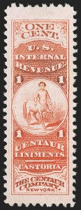 Sale Number 1212, Lot Number 474, Private Die Medicine Stamps: A thru CThe Centaur Co., 1c Vermillion, Pink Paper (RS50c), The Centaur Co., 1c Vermillion, Pink Paper (RS50c)