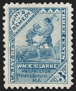 Sale Number 1212, Lot Number 477, Private Die Medicine Stamps: A thru CWm. E. Clarke, 3c Blue, Watermarked (RS56d), Wm. E. Clarke, 3c Blue, Watermarked (RS56d)