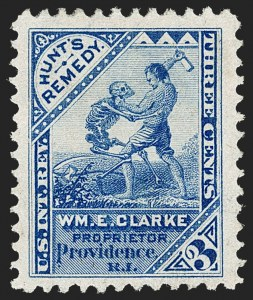 Sale Number 1212, Lot Number 478, Private Die Medicine Stamps: A thru CWm. E. Clarke, 3c Blue, Watermarked (RS56d), Wm. E. Clarke, 3c Blue, Watermarked (RS56d)