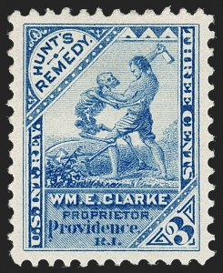 Sale Number 1212, Lot Number 479, Private Die Medicine Stamps: A thru CWm. E. Clarke, 3c Blue, Watermarked (RS56d), Wm. E. Clarke, 3c Blue, Watermarked (RS56d)