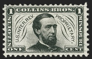 Sale Number 1212, Lot Number 481, Private Die Medicine Stamps: A thru CCollins Bros., 1c Black, Silk Paper (RS59b), Collins Bros., 1c Black, Silk Paper (RS59b)