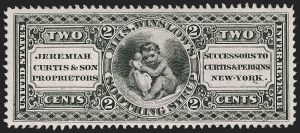 Sale Number 1212, Lot Number 484, Private Die Medicine Stamps: A thru CJeremiah Curtis & Son, 2c Black, Pink Paper (RS68c), Jeremiah Curtis & Son, 2c Black, Pink Paper (RS68c)