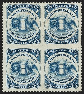 Sale Number 1212, Lot Number 527, Private Die Medicine Stamps: M thru RS. Mansfield & Co., 1c Blue, Silk Paper, Block of Four, Imperforate Between (RS154bj), S. Mansfield & Co., 1c Blue, Silk Paper, Block of Four, Imperforate Between (RS154bj)