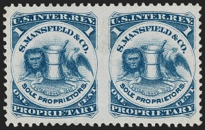 Sale Number 1212, Lot Number 528, Private Die Medicine Stamps: M thru RS. Mansfield & Co., 1c Blue, Pink Paper, Pair, Imperforate Between (RS174ci), S. Mansfield & Co., 1c Blue, Pink Paper, Pair, Imperforate Between (RS174ci)