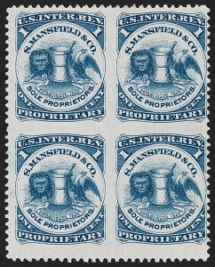 Sale Number 1212, Lot Number 529, Private Die Medicine Stamps: M thru RS. Mansfield & Co., 1c Blue, Pink Paper, Block of Four, Imperforate Between (RS174cj), S. Mansfield & Co., 1c Blue, Pink Paper, Block of Four, Imperforate Between (RS174cj)