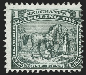 Sale Number 1212, Lot Number 531, Private Die Medicine Stamps: M thru RMerchant's Gargling Oil, 1c Black, Experimental Silk Paper (RS178e), Merchant's Gargling Oil, 1c Black, Experimental Silk Paper (RS178e)