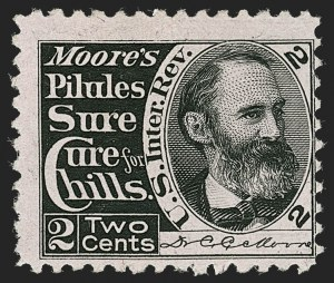 Sale Number 1212, Lot Number 536, Private Die Medicine Stamps: M thru RDr. C. C. Moore, 2c Black, Pink Paper (RS184c), Dr. C. C. Moore, 2c Black, Pink Paper (RS184c)