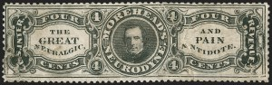 Sale Number 1212, Lot Number 537, Private Die Medicine Stamps: M thru RMorehead's, 4c Black, Old Paper (RS186a), Morehead's, 4c Black, Old Paper (RS186a)