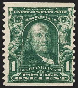 Sale Number 1212, Lot Number 67, 1902-08 Issues1c Blue Green, Coil (318), 1c Blue Green, Coil (318)
