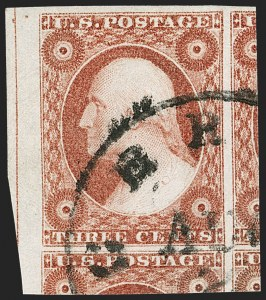 Sale Number 1212, Lot Number 7, 1851-60 Issues3c Brownish Carmine, Ty. II (11A), 3c Brownish Carmine, Ty. II (11A)