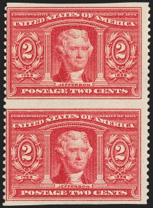 Sale Number 1212, Lot Number 73, 1902-08 Issues2c Louisiana Purchase, Vertical Pair, Imperforate Horizontally (324a), 2c Louisiana Purchase, Vertical Pair, Imperforate Horizontally (324a)