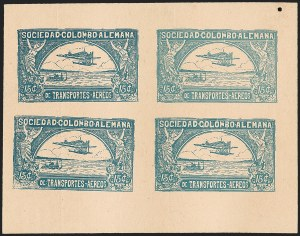 Sale Number 1213, Lot Number 503, Proofs and EssaysCOLOMBIA, 1921, 15c Blue on Buff, Imperforate Proof Sheet (C13P), COLOMBIA, 1921, 15c Blue on Buff, Imperforate Proof Sheet (C13P)