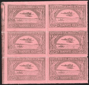 Sale Number 1213, Lot Number 508, 1920 30-Cent Black on Rose (C14), incl. Flight CoversCOLOMBIA, 1920, 30c Black on Rose, First SCADTA Air Post (C14), COLOMBIA, 1920, 30c Black on Rose, First SCADTA Air Post (C14)