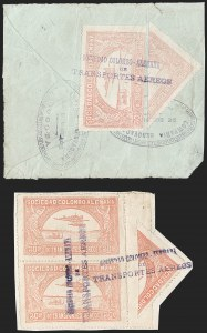 Sale Number 1213, Lot Number 563, 1921 30-Cent Rose (C15)COLOMBIA, 1921, 30c Rose, Diagonal Bisect as 15c (C15 var), COLOMBIA, 1921, 30c Rose, Diagonal Bisect as 15c (C15 var)