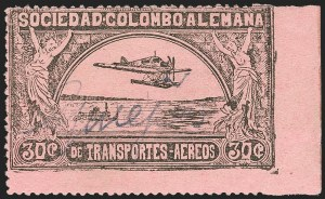 "Sale Number 1213, Lot Number 573, Consular ForerunnersCOLOMBIA, 1920, 30c Black on Rose, ""G. Mejia"" Signature, Signature Trial in Gray Blue (CLEU1 var), COLOMBIA, 1920, 30c Black on Rose, ""G. Mejia"" Signature, Signature Trial in Gray Blue (CLEU1 var)"