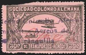Sale Number 1213, Lot Number 575, Consular ForerunnersCOLOMBIA, 1920, 30c Black on Rose, G. Mejia Signature in Red (CLEU1), COLOMBIA, 1920, 30c Black on Rose, G. Mejia Signature in Red (CLEU1)
