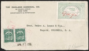 Sale Number 1213, Lot Number 578, Consular ForerunnersCOLOMBIA, 1920, 50c Green, G. Mejia Signature in Red (CLEU2), COLOMBIA, 1920, 50c Green, G. Mejia Signature in Red (CLEU2)