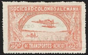 "Sale Number 1213, Lot Number 580, Consular ForerunnersCOLOMBIA, 1921, 30c Rose, ""Servicio Postal Aereo de Colombia, PANAMA"" Oveprint (Sanabria 45), COLOMBIA, 1921, 30c Rose, ""Servicio Postal Aereo de Colombia, PANAMA"" Oveprint (Sanabria 45)"
