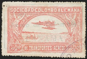 "Sale Number 1213, Lot Number 581, Consular ForerunnersCOLOMBIA, 1921, 30c Rose, ""Servicio Postal Aereo de Colombia, PANAMA"" Oveprint (Sanabria 45), COLOMBIA, 1921, 30c Rose, ""Servicio Postal Aereo de Colombia, PANAMA"" Oveprint (Sanabria 45)"