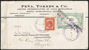 "Sale Number 1213, Lot Number 582, 1921-23 Provisional Surcharges (by Colomphil No.)COLOMBIA, 1921, ""30c 30c"" on 50c Pale Green, Air Post Surcharge (Colomphil 1; Scott C22), COLOMBIA, 1921, ""30c 30c"" on 50c Pale Green, Air Post Surcharge (Colomphil 1; Scott C22)"