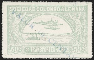 "Sale Number 1213, Lot Number 583, 1921-23 Provisional Surcharges (by Colomphil No.)COLOMBIA, 1921, ""Valor 10 Centavos"" on 50c Pale Green, Inverted ""1"" of ""10"", Air Post Surcharge (Colomphil 2; Scott C18), COLOMBIA, 1921, ""Valor 10 Centavos"" on 50c Pale Green, Inverted ""1"" of ""10"", Air Post Surcharge (Colomphil 2; Scott C18)"