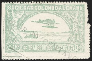 "Sale Number 1213, Lot Number 584, 1921-23 Provisional Surcharges (by Colomphil No.)COLOMBIA, 1921, ""Valor 10 Centavos"" on 50c Pale Green, Inverted ""1"" of ""10"", Air Post Surcharge (Colomphil 2; Scott C18), COLOMBIA, 1921, ""Valor 10 Centavos"" on 50c Pale Green, Inverted ""1"" of ""10"", Air Post Surcharge (Colomphil 2; Scott C18)"