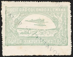 "Sale Number 1213, Lot Number 585, 1921-23 Provisional Surcharges (by Colomphil No.)COLOMBIA, 1921, ""Valor 10 Centavos"" on 50c Pale Green, Inverted ""1"" of ""10"", Air Post Surcharge (Colomphil 2; Scott C18), COLOMBIA, 1921, ""Valor 10 Centavos"" on 50c Pale Green, Inverted ""1"" of ""10"", Air Post Surcharge (Colomphil 2; Scott C18)"