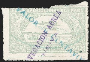 "Sale Number 1213, Lot Number 586, 1921-23 Provisional Surcharges (by Colomphil No.)COLOMBIA, 1921, ""Valor 10 Centavos"" on 50c Pale Green, Inverted ""1"" of ""10"", Air Post Surcharge (Colomphil 2; Scott C18), COLOMBIA, 1921, ""Valor 10 Centavos"" on 50c Pale Green, Inverted ""1"" of ""10"", Air Post Surcharge (Colomphil 2; Scott C18)"
