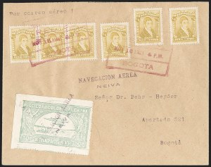 "Sale Number 1213, Lot Number 588, 1921-23 Provisional Surcharges (by Colomphil No.)COLOMBIA, 1921, ""Valor 10 Centavos"" on 50c Pale Green, Inverted ""1"" of ""10"", Air Post Surcharge (Colomphil 2; Scott C18), COLOMBIA, 1921, ""Valor 10 Centavos"" on 50c Pale Green, Inverted ""1"" of ""10"", Air Post Surcharge (Colomphil 2; Scott C18)"