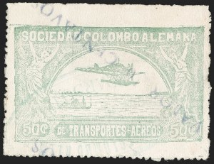 "Sale Number 1213, Lot Number 590, 1921-23 Provisional Surcharges (by Colomphil No.)COLOMBIA, 1921, ""Valor 10 Centavos"" on 50c Pale Green, Inverted Surcharge with Inverted ""1"" of ""10"" (Colomphil 2a; Scott C18 var), COLOMBIA, 1921, ""Valor 10 Centavos"" on 50c Pale Green, Inverted Surcharge with Inverted ""1"" of ""10"" (Colomphil 2a; Scott C18 var)"