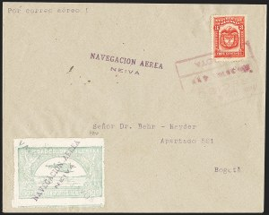 "Sale Number 1213, Lot Number 591, 1921-23 Provisional Surcharges (by Colomphil No.)COLOMBIA, 1921, ""Valor 10 Centavos"" on 50c Pale Green, Inverted ""1"" of ""10"", Double Surcharge, One Inverted, Air Post Surcharge (Colomphil 2b; Scott C18 var), COLOMBIA, 1921, ""Valor 10 Centavos"" on 50c Pale Green, Inverted ""1"" of ""10"", Double Surcharge, One Inverted, Air Post Surcharge (Colomphil 2b; Scott C18 var)"