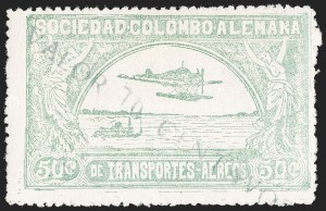 "Sale Number 1213, Lot Number 592, 1921-23 Provisional Surcharges (by Colomphil No.)COLOMBIA, 1921, ""Valor 10 Centavos"" on 50c Pale Green, Inverted ""L"" Instead of ""1"", Air Post Surcharge (Colomphil 2c; Scott C18 var), COLOMBIA, 1921, ""Valor 10 Centavos"" on 50c Pale Green, Inverted ""L"" Instead of ""1"", Air Post Surcharge (Colomphil 2c; Scott C18 var)"