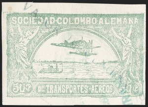 "Sale Number 1213, Lot Number 593, 1921-23 Provisional Surcharges (by Colomphil No.)COLOMBIA, 1921, ""Valor 10 Centavos"" on 50c Pale Green, Inverted ""1"" of ""10"", Imperforate, Air Post Surcharge (Colomphil 2d; Scott C18 var), COLOMBIA, 1921, ""Valor 10 Centavos"" on 50c Pale Green, Inverted ""1"" of ""10"", Imperforate, Air Post Surcharge (Colomphil 2d; Scott C18 var)"